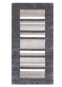 MOD007 White & Black Horizontal Stripes Modern Viscose Rugs