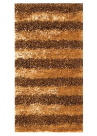 SWI003 Brown & Yellow Horizontal Bold Stripes Swirl Shaggy Rugs