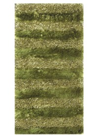 SWI005 Green Horizontal Bold Stripes Swirl Shaggy Rugs