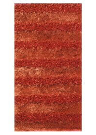 SWI006 Rust Horizontal Bold Stripes Swirl Shaggy Rugs