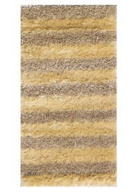 SWI010 Cream & Light Yellow Bold Stripes Swirl Shaggy Rugs