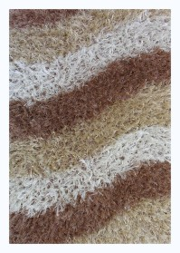 WAV002 White & Brown Multi-Color Wave Shaggy Rugs