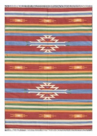 ANT057 Multi-Color Cross Patterned Antique Cotton Rugs