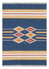 ANT007 Blue Mix Designer Pattern Antique Cotton Rugs