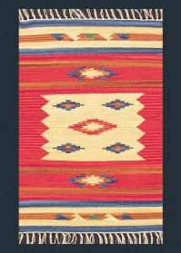 ANT008 Orange & Beige Mix Zig-Zag Pattern Antique Cotton Rugs
