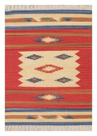 ANT009 Dull Orange & Beige Mix Zig-Zag Pattern Antique Cotton Rugs