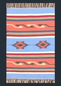 ANT010 Blue & Light Orange Horizontal Pattern Antique Cotton Rugs