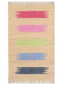 BRU005 Beige Multi Strokes Brush Cotton Rugs