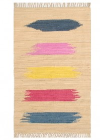 BRU006 Beige Multi Strokes Brush Cotton Rugs