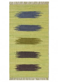 BRU003 Green Multi Strokes Brush Cotton Rugs