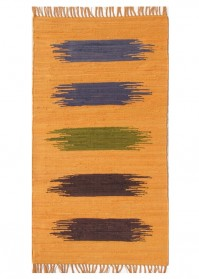 BRU008 Orange Multi Strokes Brush Cotton Rugs