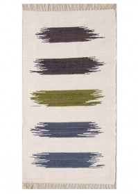 BRU010 White Multi Strokes Brush Cotton Rugs