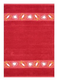 KIN006 Soft Red Butter Fly Pattern Kinder Cotton Rugs