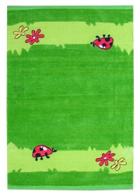 KIN010 Green Fly Pattern Kinder Cotton Rugs