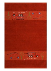 KIN012 Dark Orange Lorry Pattern Kinder Cotton Rugs