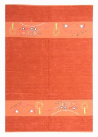 KIN013 Light Orange Lorry Pattern Kinder Cotton Rugs